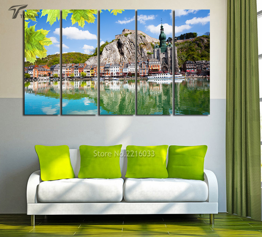 Church Wall Decoration canvas art 5 panel church of dinant home office wall decoration