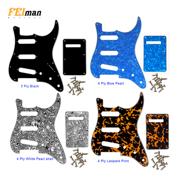 Pleroo 11 Screw Holes Guitar Pickguard with Back Plate suit for USA/Mexico Fender Stratocaster Standard SSS ST Scratch Plate pleroo guitar pickguard for us 11 screw holes stratocaster with floyd rose tremolo bridge paf humbucker single hss scratch plate