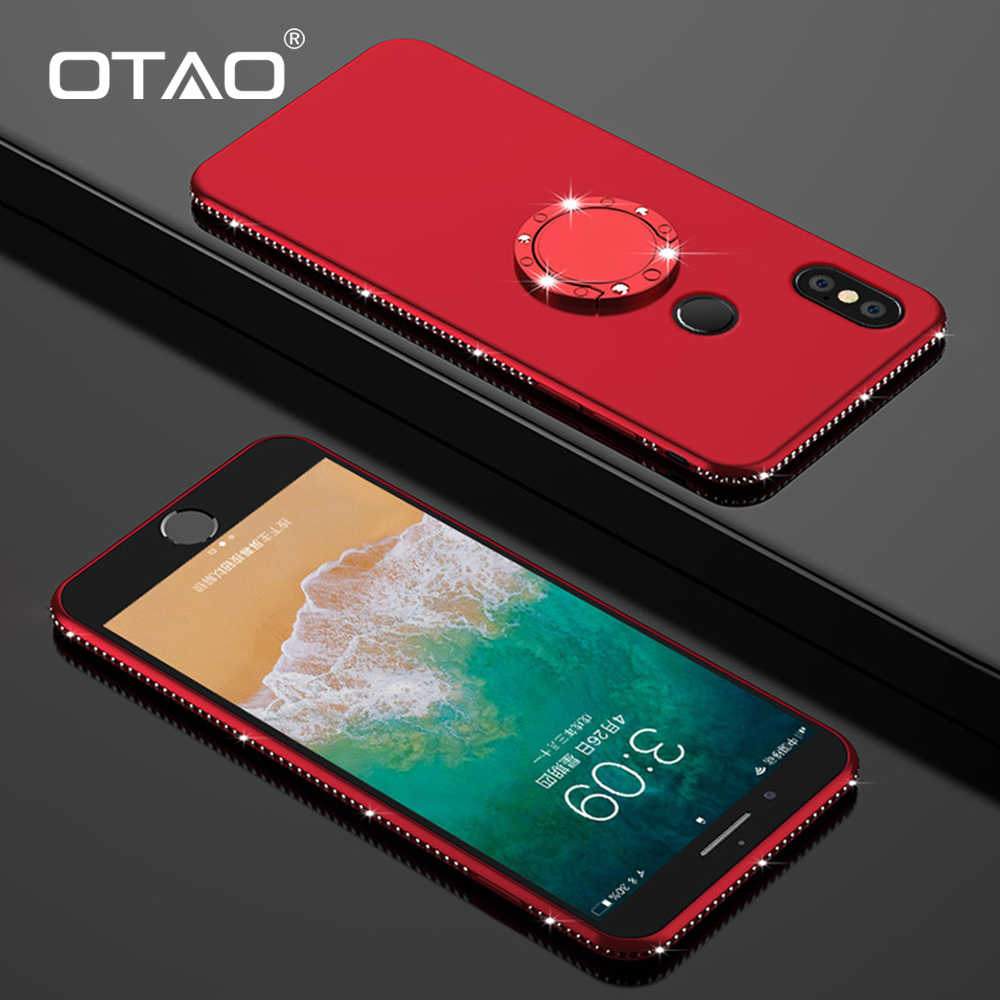 OTAO 3D Bling Diamond Magnetic Case For Xiaomi Mi 8 SE 6 Max 3 Cases For Redmi 5 6A Pro Note 6 5 4 Plus Finger Ring Holder Cover