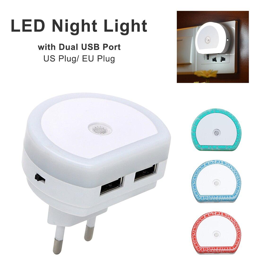 USB LED Night Light Wall Charger Plug Dusk To Dawn Sensor Wall Lamp EU US 5V 1A Socket Lamp