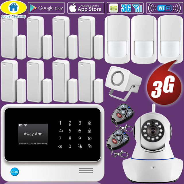 Best Offers Golden Security WIFI 2G 3G GSM GPRS Language Switchable Wireless Home Security Alarm System APP Remote Control IP Camera