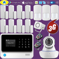 Golden Security WIFI 2G 3G GSM GPRS Language Switchable Wireless Home Security Alarm System APP Remote Control IP Camera