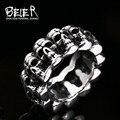 Beier nova loja anel aço inoxidável 316l top quality anel de caveira do punk do vintage crânio dominador moda jóias br8-225