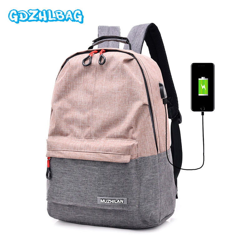 Women External USB Charge Backpack Canvas Backpack Male Mochila Escolar Girl Laptop Backpack School Bags Backpack for teens B308 canvas backpack women for teenage boys school backpack male