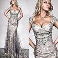 Новые вечерние платья ленты крышкой рукавом неискрящий блестки аппликации хрустальные русалка пром платья рами Salamoun 2015
