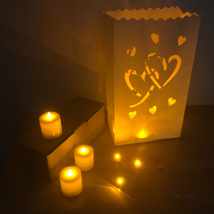 20 Pcs Lot Heart Shaped Tea Light Holder Luminaria Paper Lantern Candle Bag For Christmas Party Outdoor Wedding Decoration 2018 In Lanterns From Home
