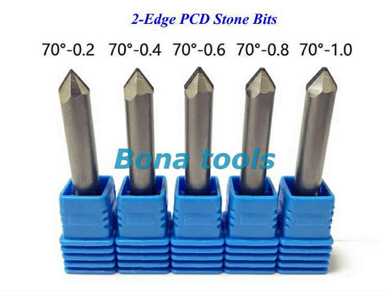 2-Edge V Router Cutters Sets, PCD Tools Diamond Router Bits for Granite Stone Engraving, 3pcs CNC End Mill Set 6*0.2mm 70Degree huhao 1pc 6mm cnc router end mill diamond pcd tools stone hard granite cutting engraving bits 30 35 40 45 degree pcd cutter