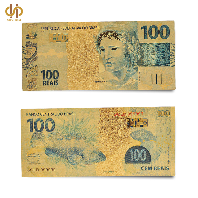 Brazil Colored Gold Dollar 100 Reais Golden Foil Money Note Collection