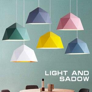 Image 2 - Pendant Lights Iron Pendant Lamp Minimalism Nordic Hanglamp Geometric Single Head For Restaurant Cafe Home Suspension Luminaire