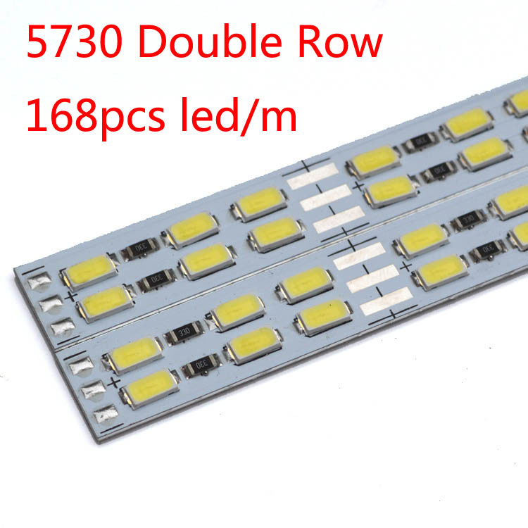 50pcs/lot LED double line hard strip bar light 12v light bar 168pcs LED/M 5630/5730 rigid strip jewelry counter hard light
