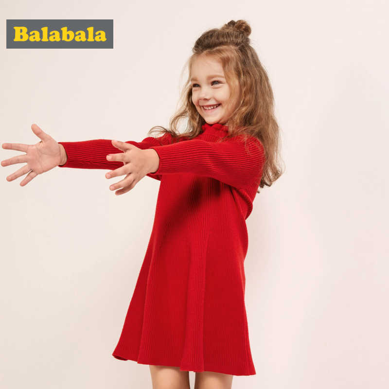 Balabala Girl Ribbed Knit Sweater Dress with Ruffled Mock-Turtleneck Children Kids Long-sleeved Knee Length Knit Dress