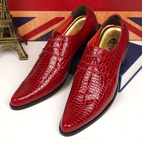 4 Cm High Thick Heels Men Casual Business Wedding Dress Crocodile Skin Genuine Leather Shoes Pointed