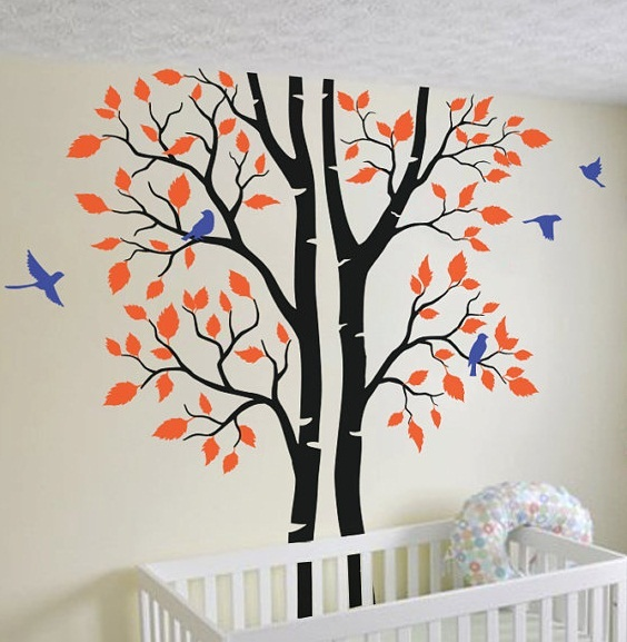 Autumn Tree With Flying Resting Birds Lovely Wall Decals Baby Kids