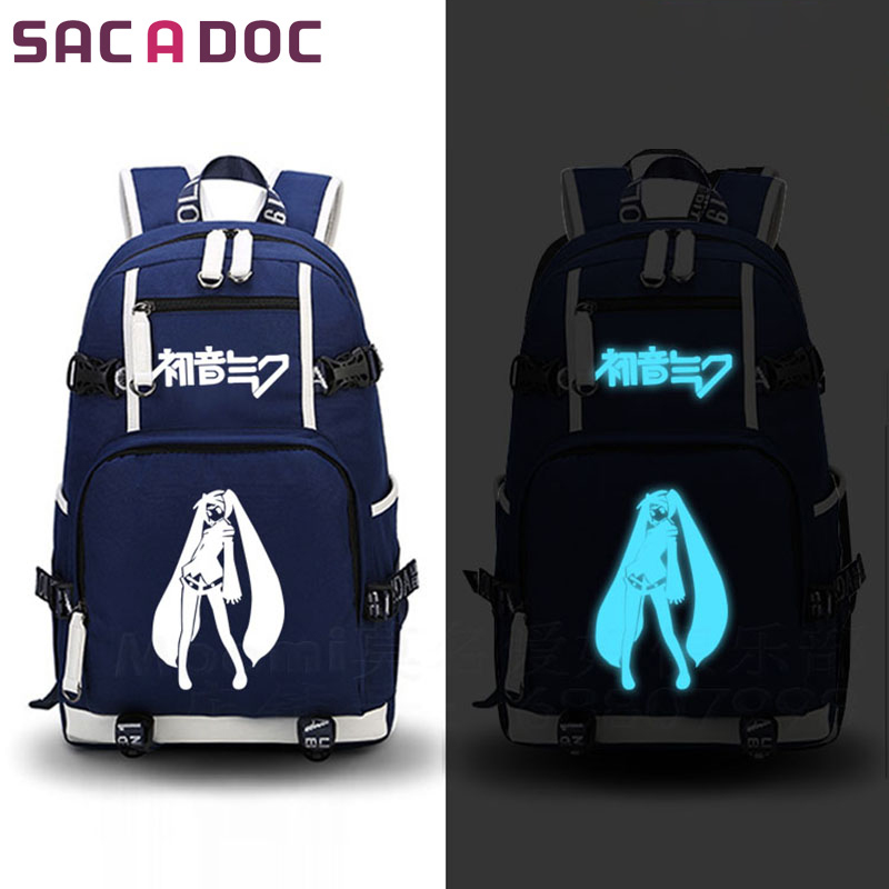 Anime Hatsune Miku Backpack School Bags For Teenagers Boys Girls Cartoon Book Bag Hatsune Miku Printing Luminous BackpackAnime Hatsune Miku Backpack School Bags For Teenagers Boys Girls Cartoon Book Bag Hatsune Miku Printing Luminous Backpack