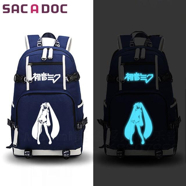 43701835a6e Anime hatsune miku mochila Mochilas y bolsas para el colegio para  adolescentes Niños Niñas libros de