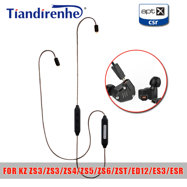 APT-X Headphone Bluetooth CSR8645 Cable for KZ ZS10 AS10 ZS3 ZS4 ZS5 ZS6 ZST ED12 ES3 ESR Headset Earphone Silver Plated Line