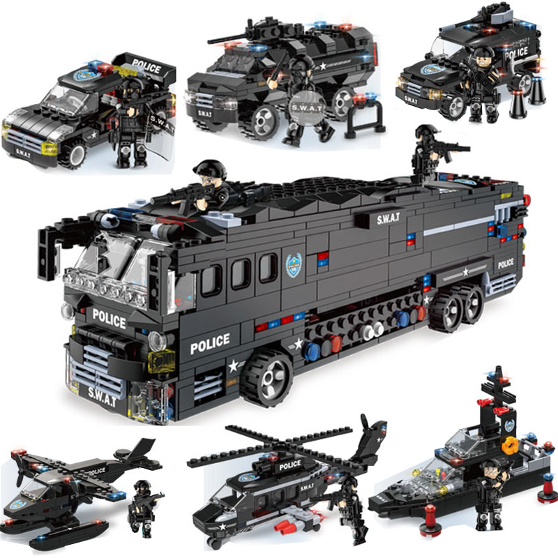 Military Series Police Building Blocks Kids Assembling Urban Weapons Aircraft Car Boat Dolls Boy Toy Compatible Legoe