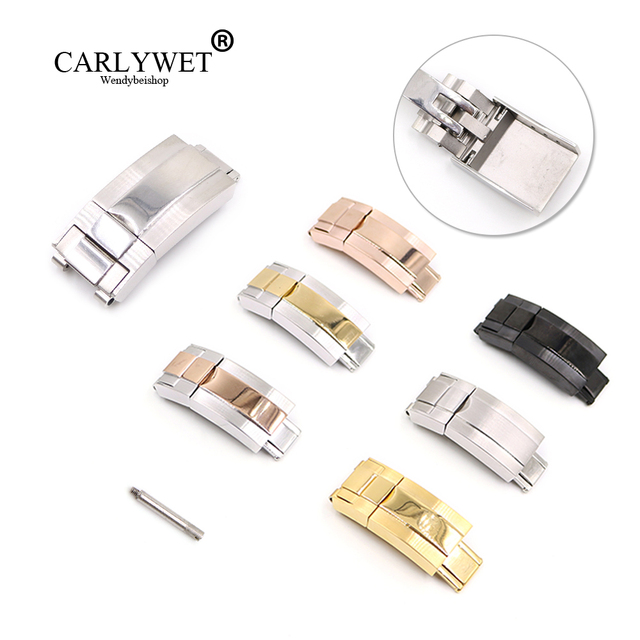 CARLYWET 16m x 9mm Brush Polish Stainless Steel Watch Band Deployment Clasp For