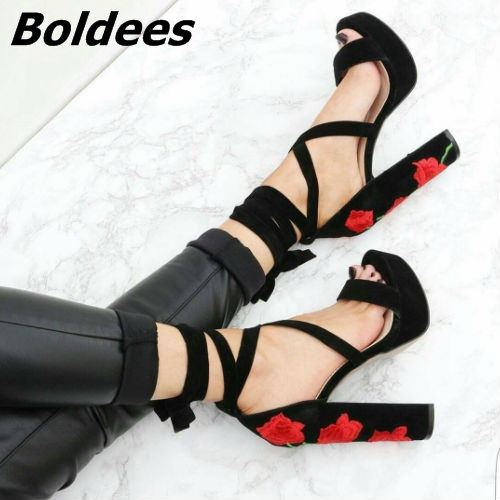 Elegant Black Suede Peep Toe Block Heeled Sandals Classy Floral Embroidered Chunky High Heel Lace Up Dress Shoes WomanElegant Black Suede Peep Toe Block Heeled Sandals Classy Floral Embroidered Chunky High Heel Lace Up Dress Shoes Woman