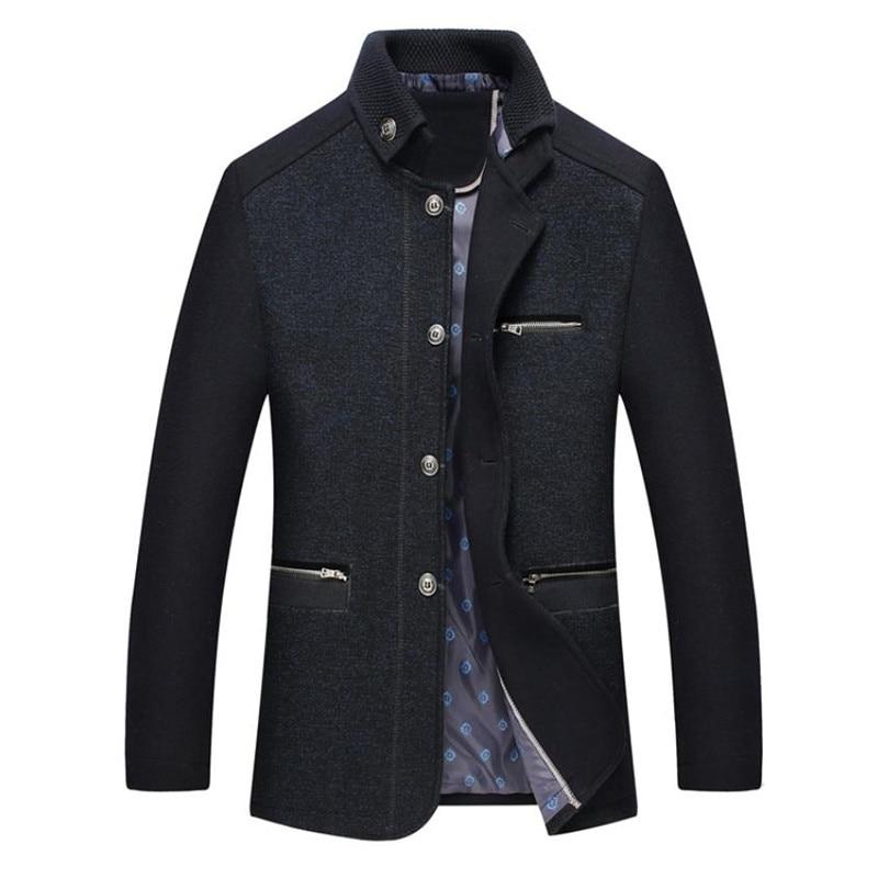 autumn men's woolen coat business slim collar design men's wool jacket Solid color overcoat