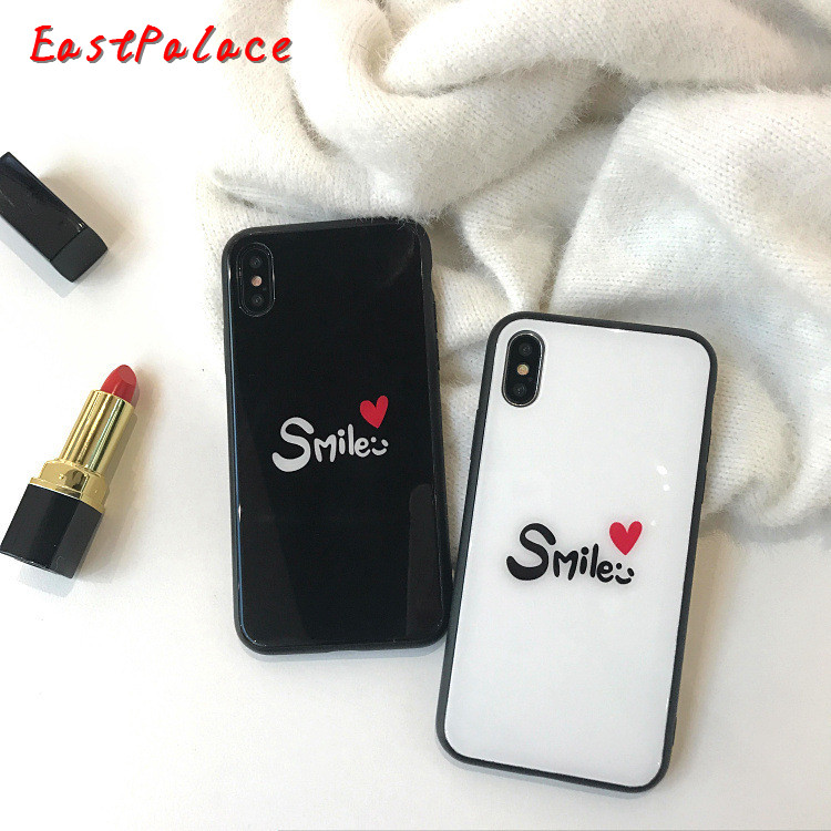 Smile Couple Black White Heart Case For iPhone X XS Tempered Glass Back Cover For iPhone 7 6S 8 Plus 6 Plus Cute Phone Cases