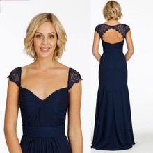Custom Made Vestido Madrinha Sweetheart Lace Cap Sleeve Keyhole Back Navy Blue Bridesmaid Dresses 2016