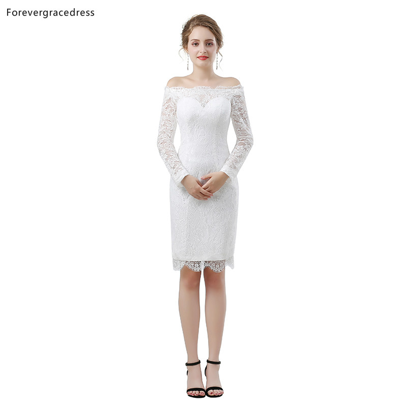 Forevergracedress White Lace Short Cocktail Dresses Sheath Long Sleeves Girls Party Gowns Plus Size Custom Made