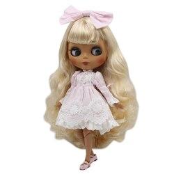 Fábrica de GELO blyth boneca corpo joint nova matte pele escura face dourada soletrado rosa cabelo curto sd DIY brinquedo de presente