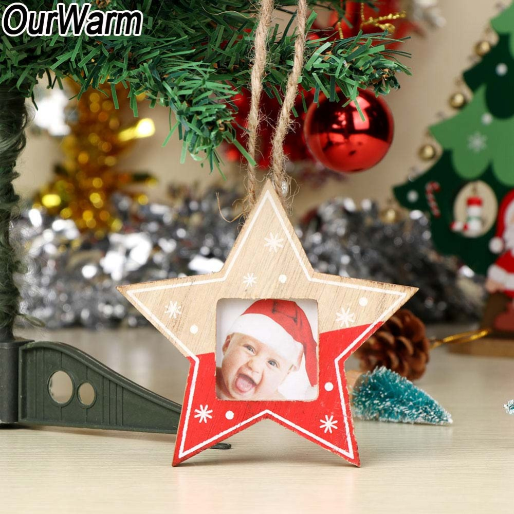 ourwarm 3pcs wood photo frame christmas ornaments new year decoration christmas tree decorations pendants in pendant drop ornaments from home garden on