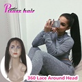 360 Lace Frontal 7A Peruvian Virgin Hair Straight Natural Hairline 360 Lace Band Frontal Closure With Baby Hair 360 Frontal Hair