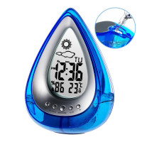 Newest Water Power Digital Bathroom Clock Home Confort Eco Friendly Hydrodynamic Weather Station Drop Shape Weather Clock