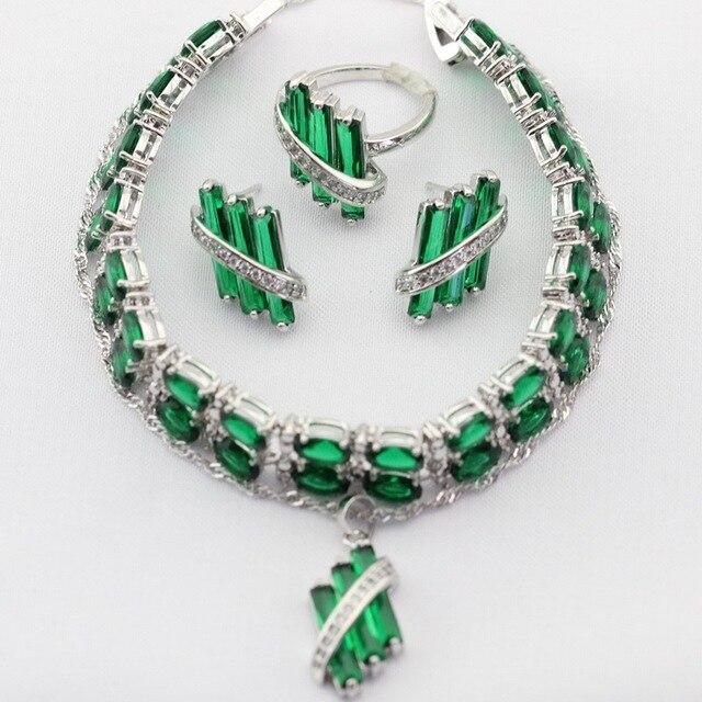 Зеленый Создания Изумрудный Посеребренные Женщины Ювелирные Изделия Устанавливает Ожерелье Подвески Подвеска Серьги Кольца Браслет Рождественский Подарок