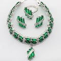 Green Created Emerald Silver Plated Women Jewelry Sets Necklace Charms Pendant Drop Earrings Rings  Bracelet Christmas Gift