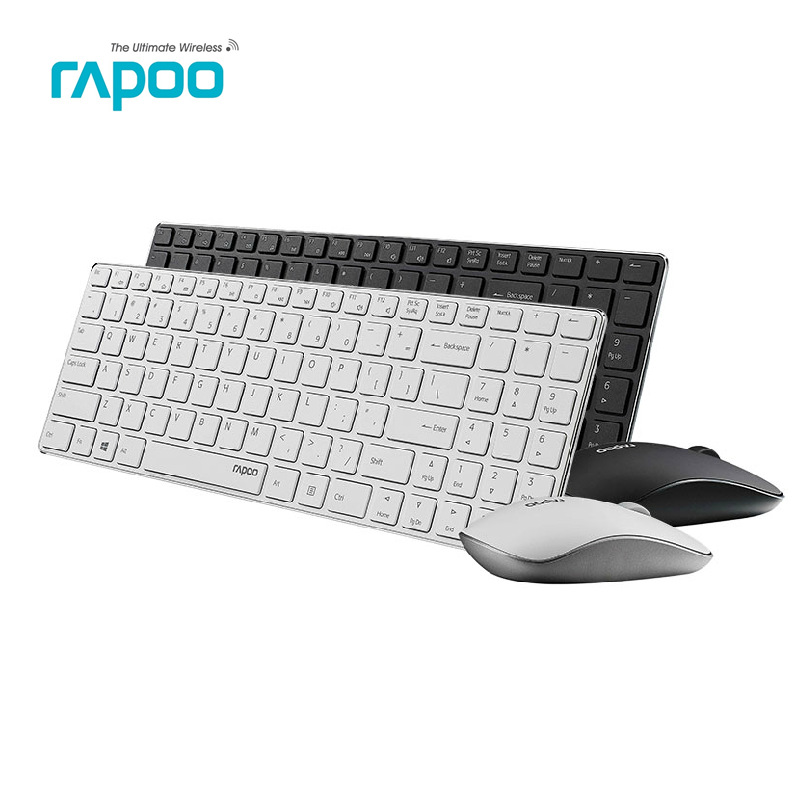 Prix pour D'origine Rapoo 9300 P Ultra Mince En Métal Optique Sans Fil Clavier et Souris Combos pour PC Portable Gaming Home Clavier Souris