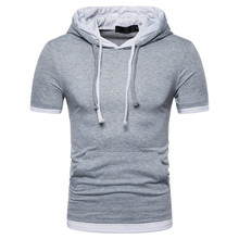 Fake Two Pieces T Shirt Men 2018 Summer Brand Cotton Hooded Mens T-shirts Casual Slim Fit Short Sleeve Hoodies T-shirt