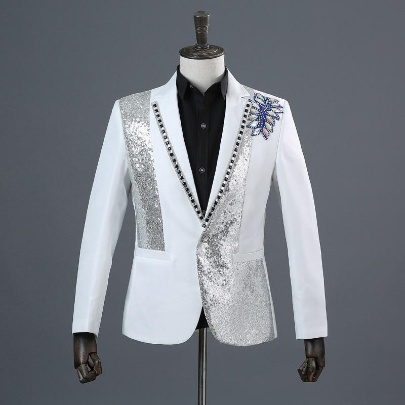 3 Blanc Ensemble Costumes Sequin Hommes Chanteur Partie Diamant Pièce Pantalon Luxe Mâle D'étape White Costume Argent black De Broderie veste Tie Bow q4zwZaqxY