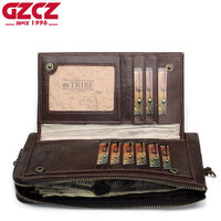 GZCZ 2018 Men'S Genuine Leather Wallet Vintage Long Wallet Handy Male Purse Men Handy Coin Purse Cell Phone Pocket PORTFOLIO MAN