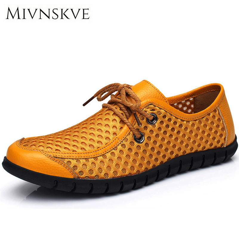 Hot Men Casual Shoes 2017 Breathable Soft Driving Men's Flats Handmade Chaussure Homme Mesh Mens Loafers with Genuine Leather agsan men british handmade genuine leather casual shoes comfortale soft mens driving shoes breathable loafers slip on flats blue