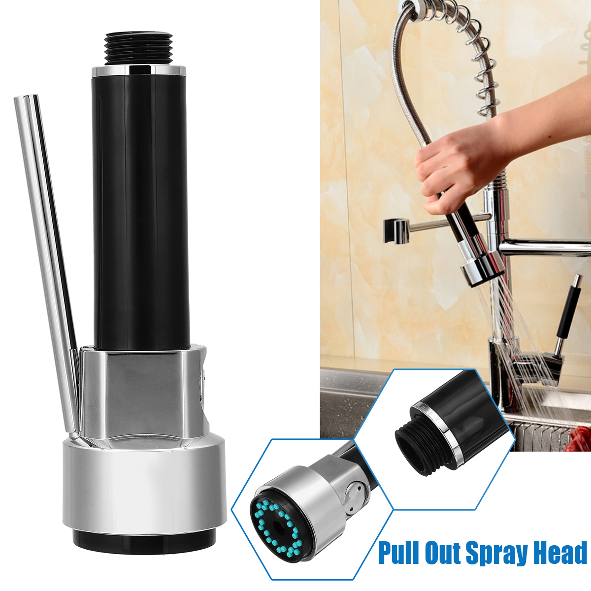 Kitchen Bathroom Tap Faucet Mixer Pull Out Spray Head Outlet Sprayer Nozzle Water Saving Kitchen Faucet Tap Replacement Part