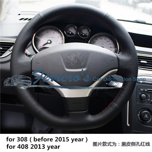 Free shipping Sew on genuine leather car steering wheel cover Car ...