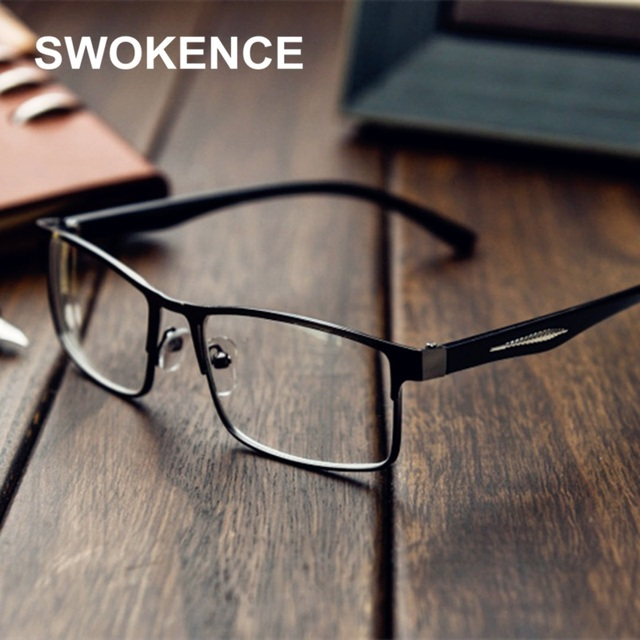 SWOKENCE Diopter -1 to -6.0 Fashion Finished Myopia Glasses Women Men Brand Spare Alloy Frame Short Sighted Reading Glasses F194