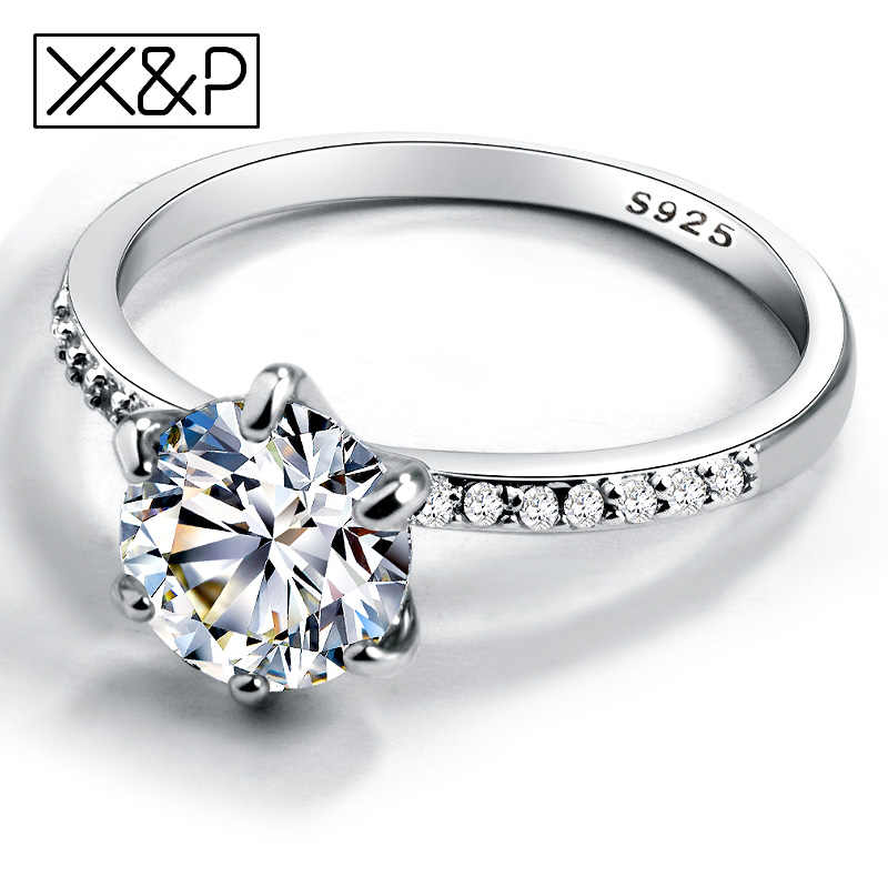 X&P Classic Engagement Ring 6 Claws Design AAA White Cubic Zircon Fashion Female Women Wedding Band Rings 2019 Jewelry