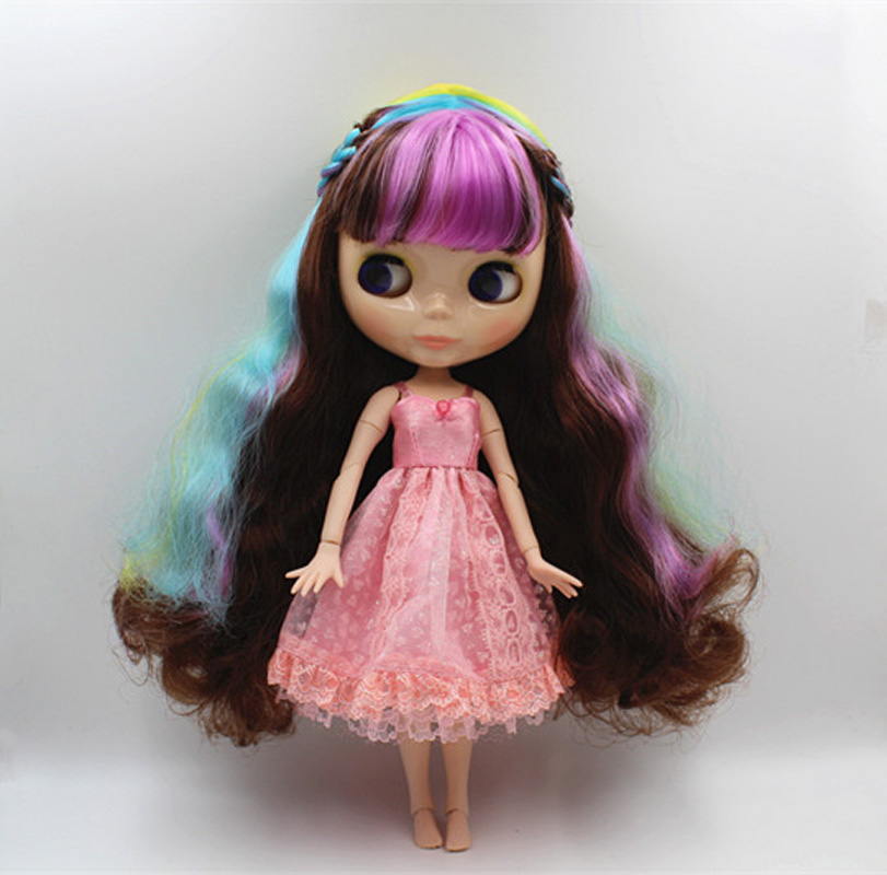 Free Shipping BJD joint RBL-351J DIY Nude Blyth doll birthday gift for girl 4 colour big eyes dolls with beautiful Hair cute toy 1pcs black sunglasses for american girl dolls as for bjd blyth dolls eyeglasses suit face width about 8cm dolls