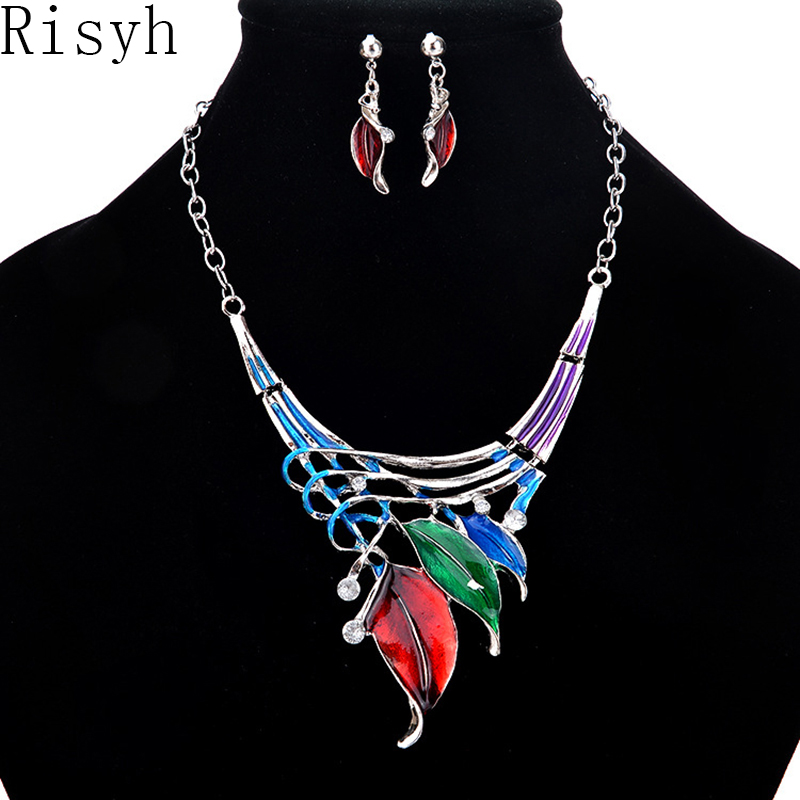 Risyh Fashion classic leaf shape color drop necklace set Women's pendant necklace