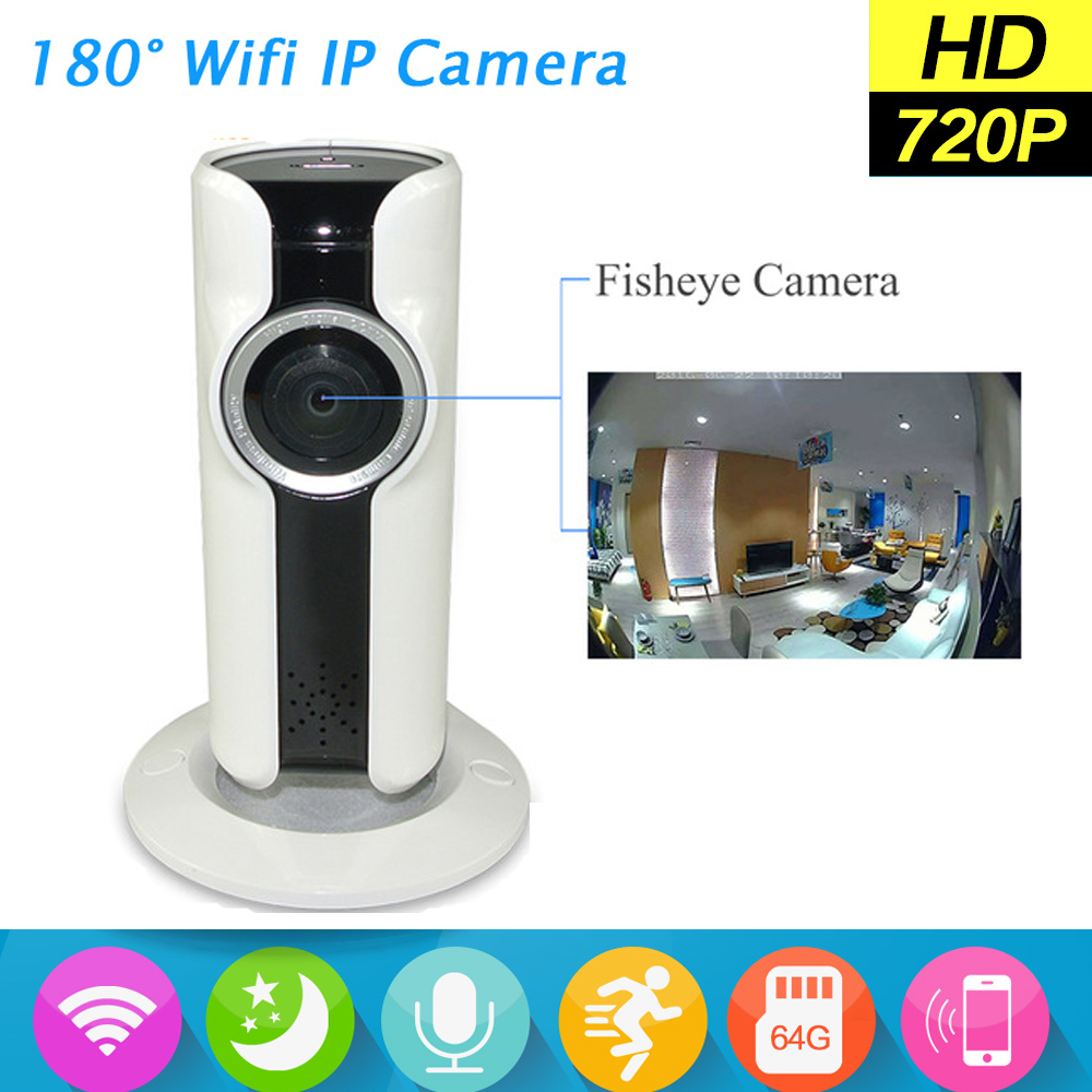 Newest Mini Wifi VR IP Camera Wireless 720P HD Smart 180 Degree Panoramic Network CCTV Security Camera Fisheye Lens erasmart hd 960p p2p network wireless 360 panoramic fisheye digital zoom camera white