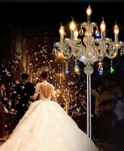 Cocktail party led wedding floor light silver candle crystal floor lamp opening Professional lighting E14 tall table lamp luces