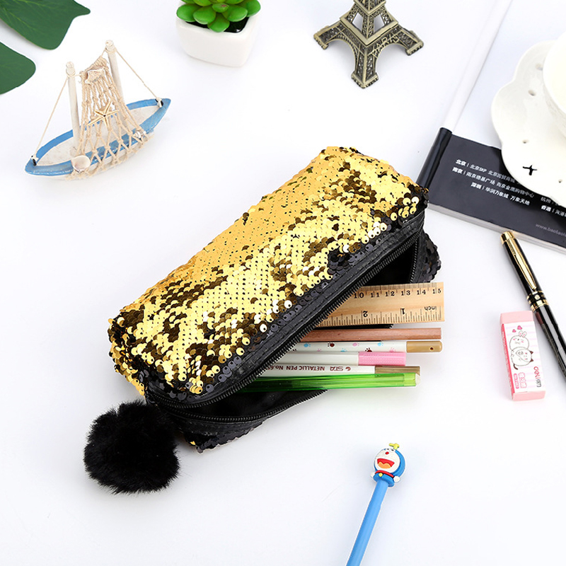 Creative Reversible Sequin Hairball Pencil Case For Girls Bts Stationery Gift Cute Student  Box Kawaii Supplies