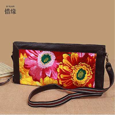 XIYUAN BRAND luxury womens casual national floral vintage 100% cow Genuine Leather shoulder Messenger embroidered handbag bags simline brand vintage casual 100
