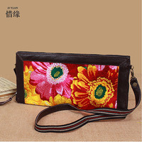XIYUAN BRAND Luxury Womens Casual National Floral Vintage 100 Cow Genuine Leather Shoulder Messenger Embroidered Handbag