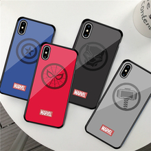 GYKZ The Avengers Captain Marvel Glass Phone Case For iPhone XS MAX X XR 6 6s 7 8 Plus Iron Man Spiderman Hard Back Cover Fundas